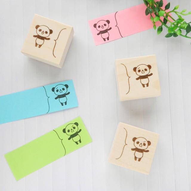 パンダのふきだしスタンプ/はんこ(フセンサイズ)