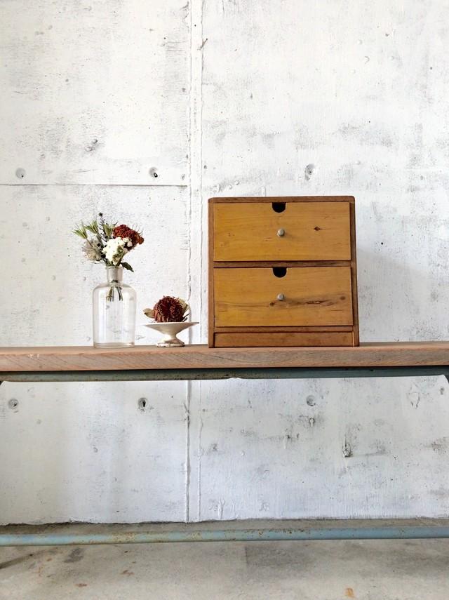 ナチュラル木味の小引き出し2段[古家具]