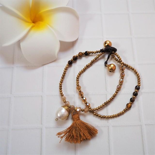 Tussel Pearl 2lined Bracelet《BRN》18385003C