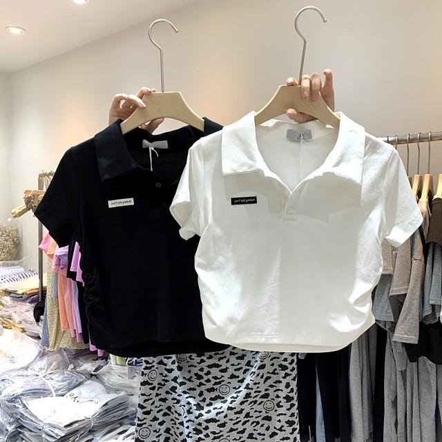 【トップス】韓国系半袖POLOネックプルオーバーショート丈Tシャツ45903431