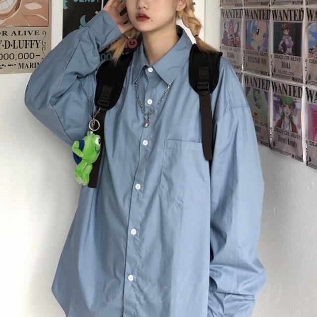 【トップス】韓国系POLOネック長袖切り替えシングルブレストシャツ41248690