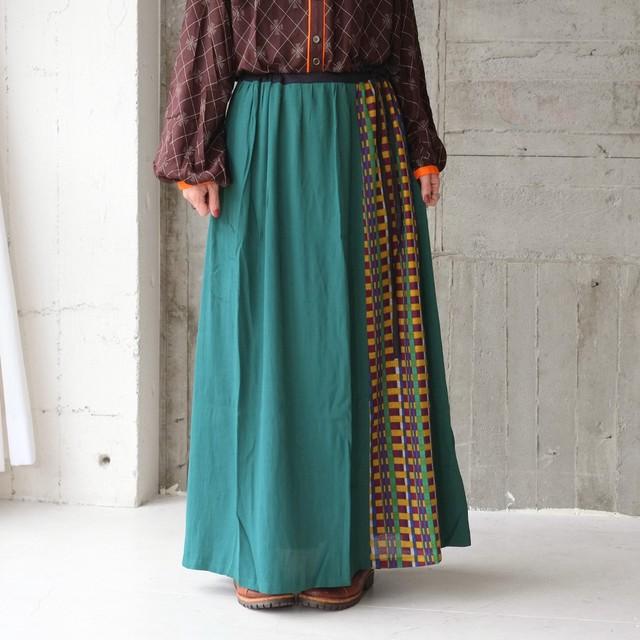 ビスコース×チェック柄ロングスカート(21w-10)ピーコックグリーン
