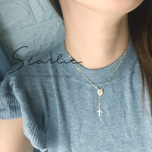 14kgf 》Design rosary ✞ necklace