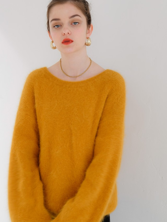 2way angora volume knit(orange)