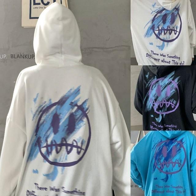 ユニセックス パーカー プラスベルベット グラフィティプリント プルオーバー オーバーサイズ 韓国ファッション メンズ レディース 男女兼用 大きめ カジュアル ストリート系 / Graffiti Plus Fleece Hooded Sweater (DTC-625241992343)