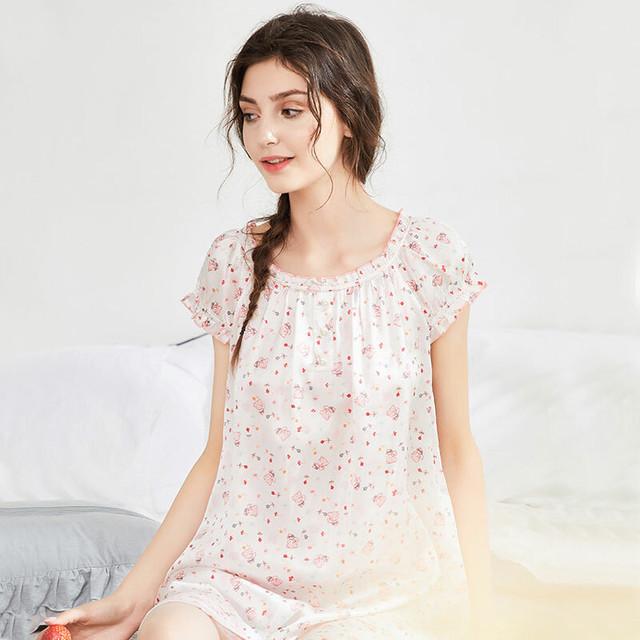 シルク 100% パジャマ 高品質 半袖 可愛い ワンピース ホワイト ピンク