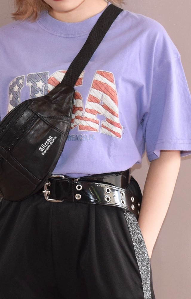 """USA"" PATTERN BIG LOGO TEE (lavender)"