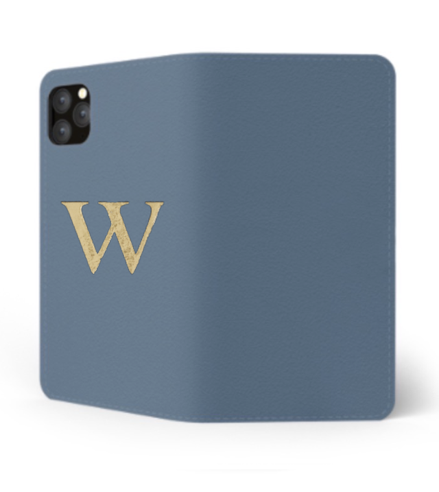iPhone Premium Smooth Leather Case (Capri Blue) : Book Cover
