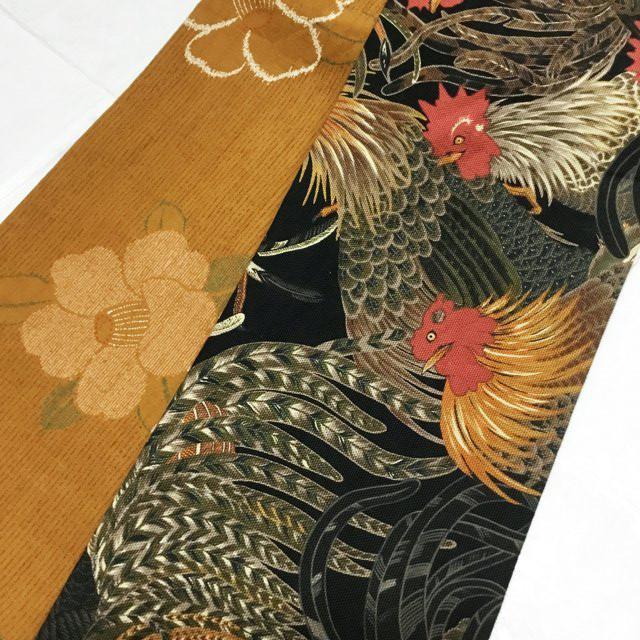 オリジナル鶏半幅帯【黒/黄土色】