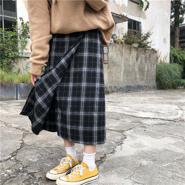 ハイウエスト ロング丈 スカート【0996】