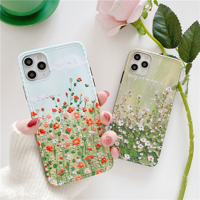 Retro oil spring flower iphone case