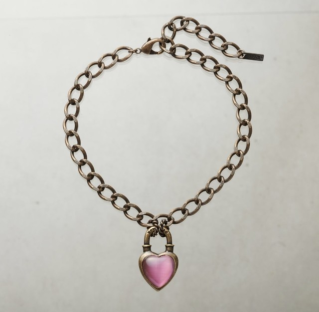 Never End  Chain Choker/Necklace Gold/Pink #0102 ネバー・エンド チョーカー/ゴールド/ピンク