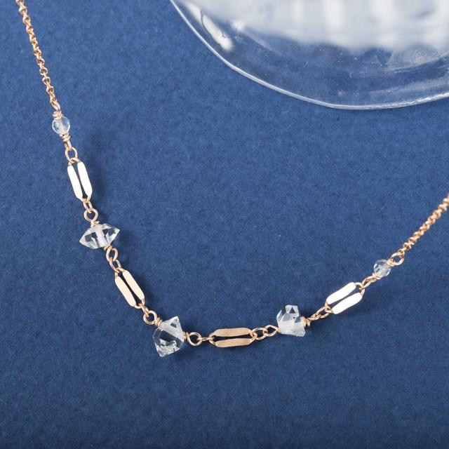 ハーキマーダイヤモンドの飾りチェーンネックレス~14KGF