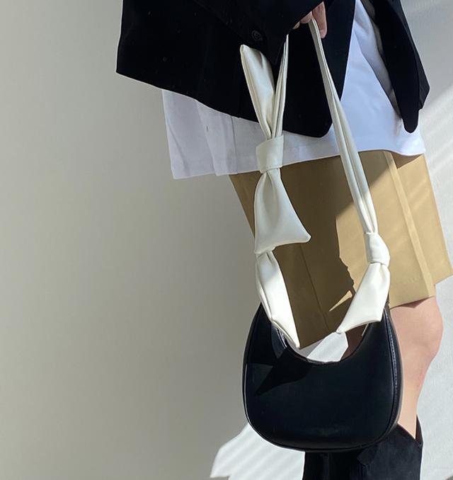 バイカラーホワイトサイドリボンエコレザーバッグ