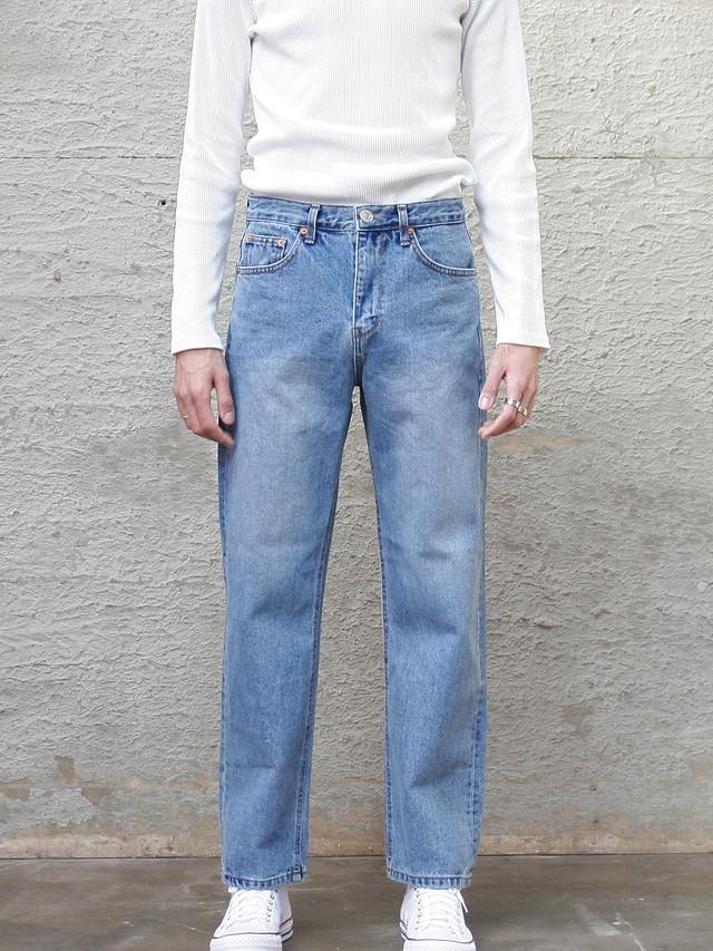 【即日出荷】ストレートデニムパンツ ジーンズ パンツ シンプル ストリート カジュアル メンズ