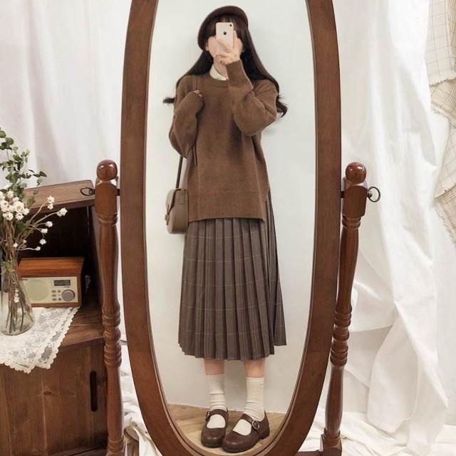 【送料無料】 ナチュラルガーリー セットアップ♡ プルオーバー ニット × プリーツ スカート チェック ジャンパースカート