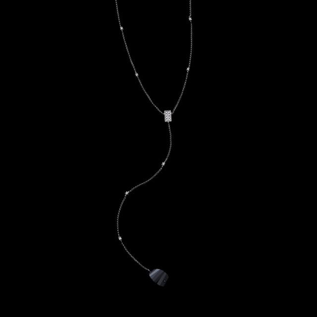 jg <SwingBlack> ネックレスK18/ダイヤモンド/ブラックオニキス