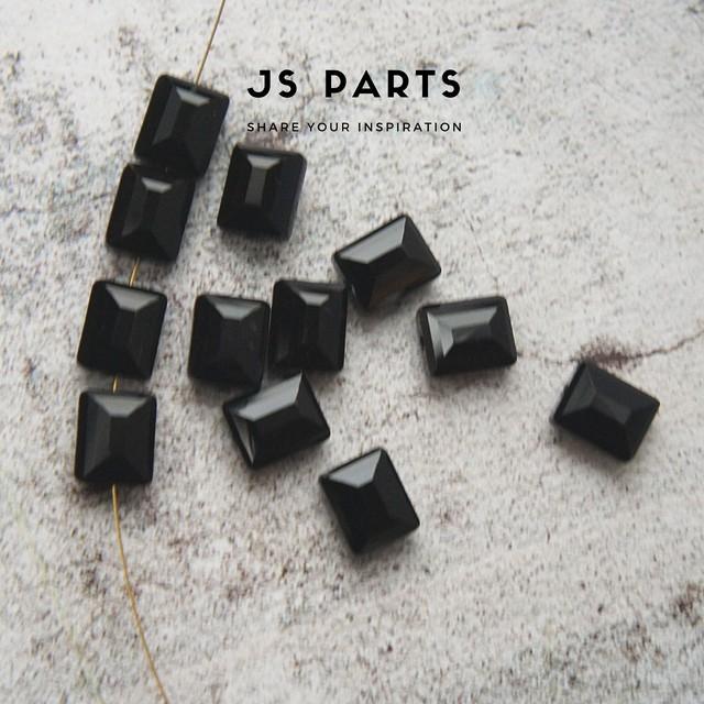 【#116GB-E1】12×10mm 4pcs ブラック ガラスビーズ レクタングル