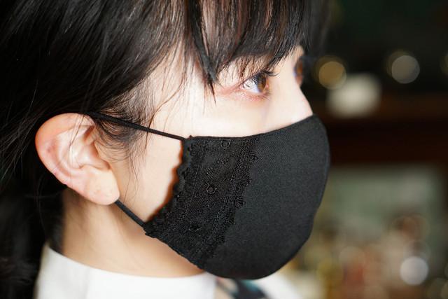 エレガントなレース付き布マスク/ブラック