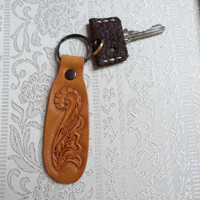 SALE! 革好きさんのためのカービングのキーホルダーNo.13(送料無料)