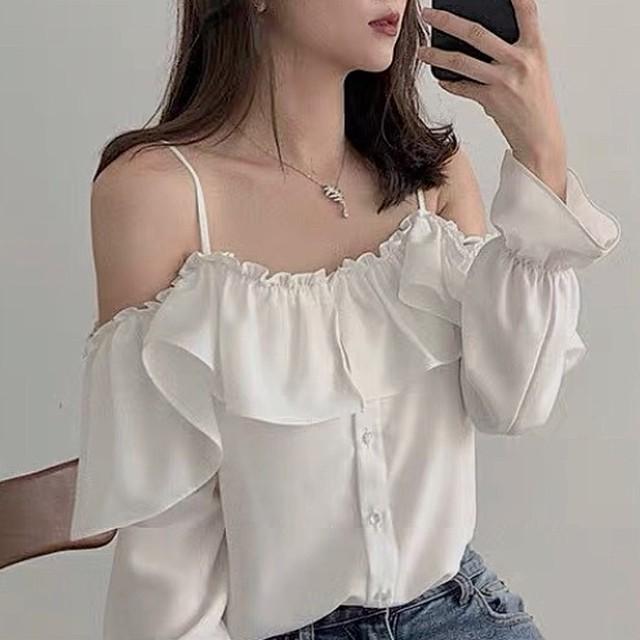 yuru shoulder tops 2color