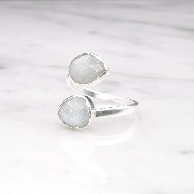 DOUBLE STONE OPEN RING SILVER 024