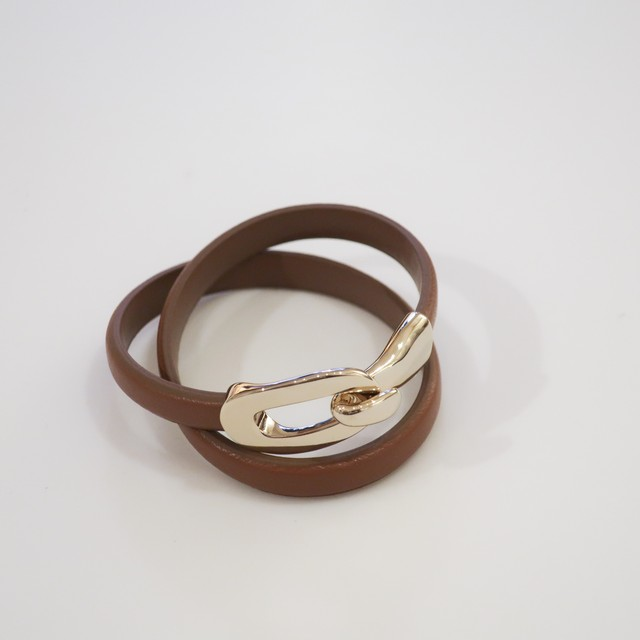 Rock Enclose Leather - Bangle / Camel