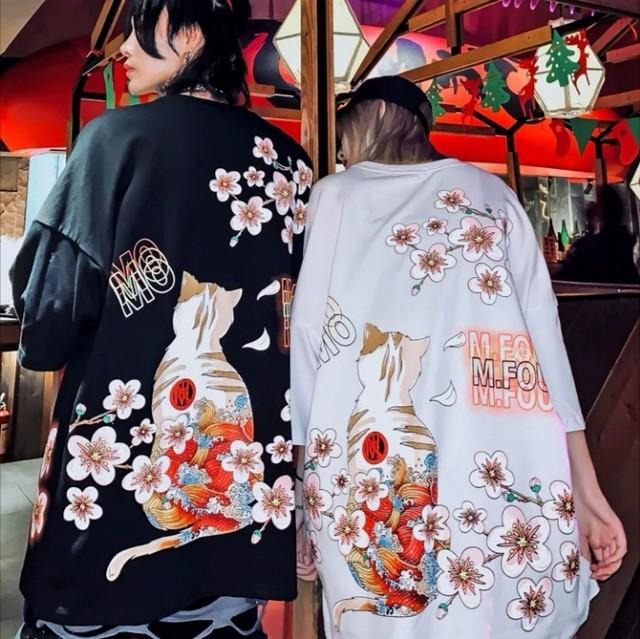 【トップス】男女兼用猫花図柄簡約・シンプルプリントTシャツ28142403