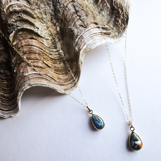 Copper Turquoise Drop Necklace