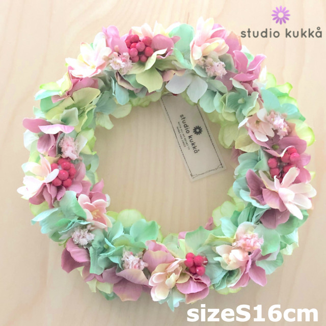 送料無料 <受注製作> 直径16cm♡アジサイのグラデーションリース ピンクベリー 紫陽花 ピンク グリーン