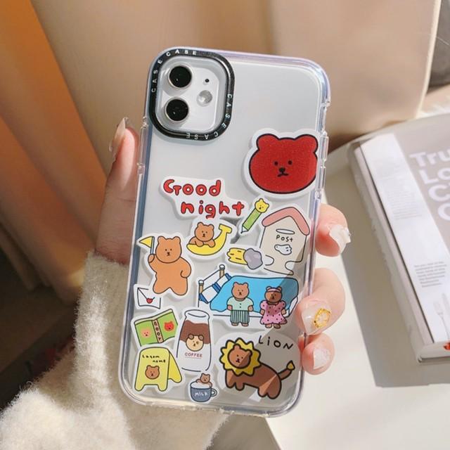 iPhone ケース 韓国 TPU クマロゴプリントクリアケース クリア透明 個性的 シンプル カバー  ケース 可愛い おしゃれ iPhone7/8/SE2 iPhoneX/Xs iPhoneXR iPhone11 iPhone11Pro スマホケース 携帯ケース