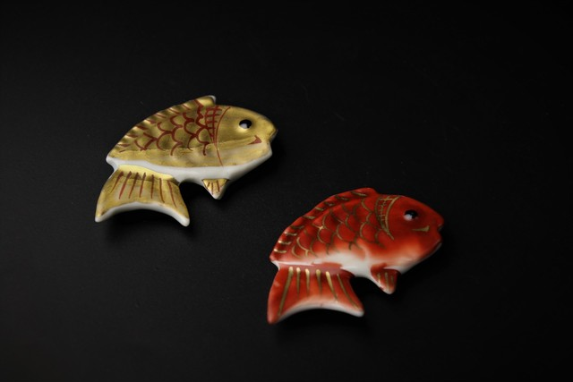 金赤鯛ペア箸置 清水焼