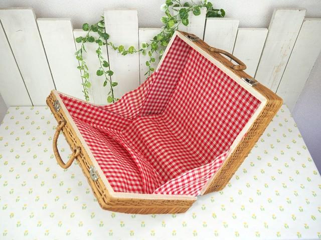 ヴィンテージ ピクニックバスケット (中サイズ)籐製 レトロ ギンガムチェック 昭和レトロ キャンプ ピクニック