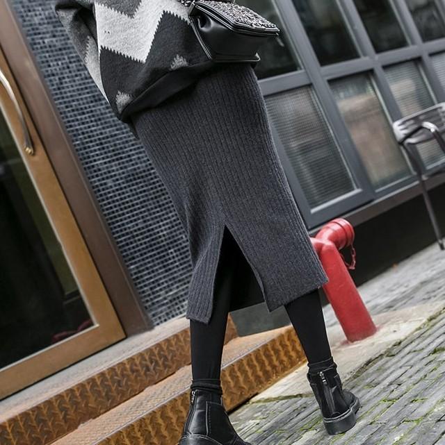 リブニットスカート レディース ニットスカート ロングスカート タイトスカート 膝下丈 グレー 黒 ブラウン 全3色 秋 冬 新作 P1681