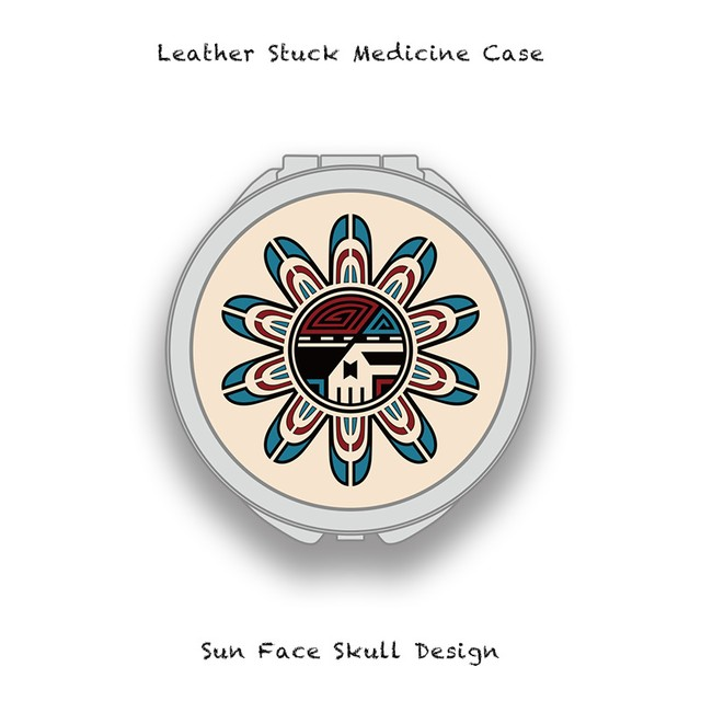 Leather Stuck Medicine Case ( Large Round Shape ) / Sun Face Skull Design 001