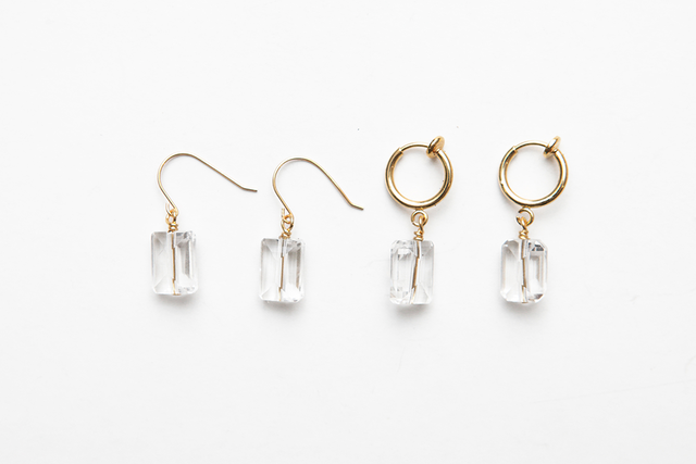 rectangular quartz fook & earring
