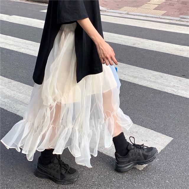 メッシュ ティアードスカート ウエストゴム ミモレ丈 透け感 シアー シースルー ふんわり フェアリー ガーリー TP3226