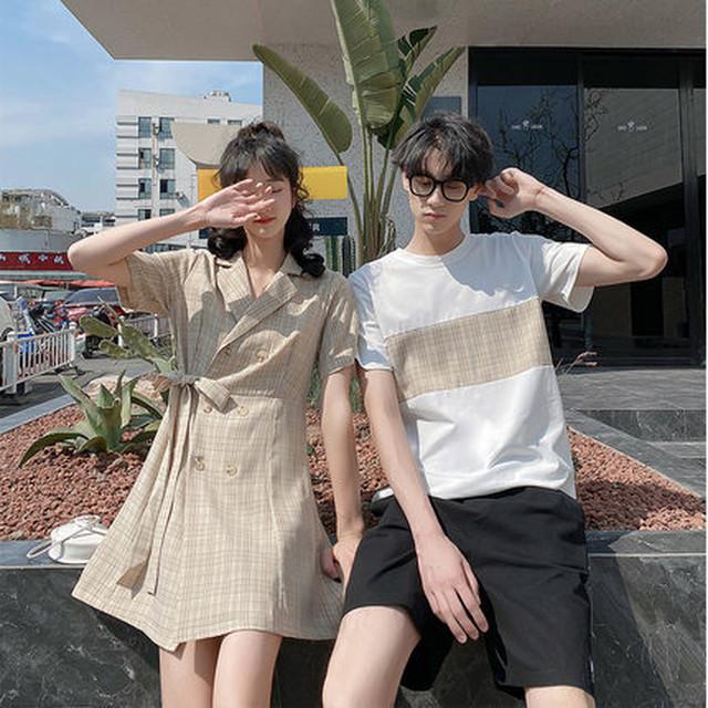 イエローチェック Tシャツ シャツワンピース 0763 メンズハーフパンツ セットアップ カップル ペアルック リンクコーデ カジュアル お揃い デート