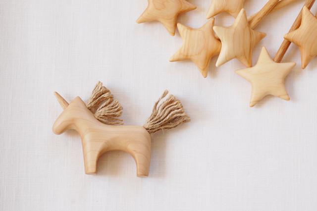 ファンタジックな木製のユニコーン☆~カエデ ブナ