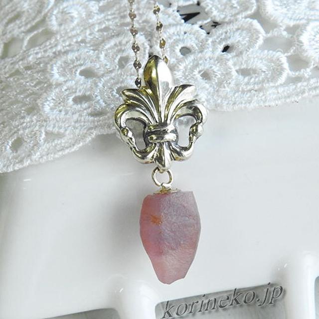 【希少】コロンとかわいい結晶。パパラチアカラーのピンクサファイア結晶ペンダントトップ