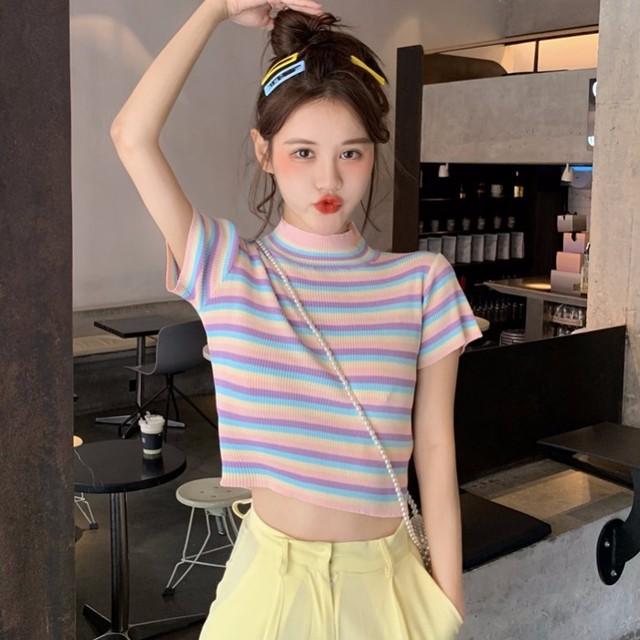 【tops】配色スウィートラウンドネックプルオーバーカラフルストライプ柄Tシャツ