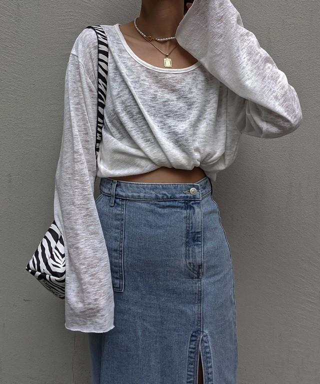 Long sleeve sheer top