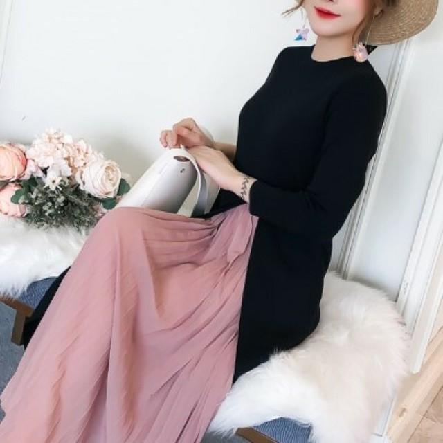 レディース ワンピース ニット シフォン プリーツ 長袖 秋冬 大人可愛い ピンク ブラック レイヤード 異素材 お出かけ デート