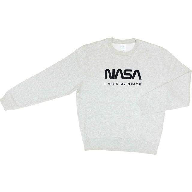 NASA公認(アメリカ航空宇宙局)・トレーナー・JERZEES(ジャージーズ)ボディ・ロゴタイプ(ワーム)・ホワイト