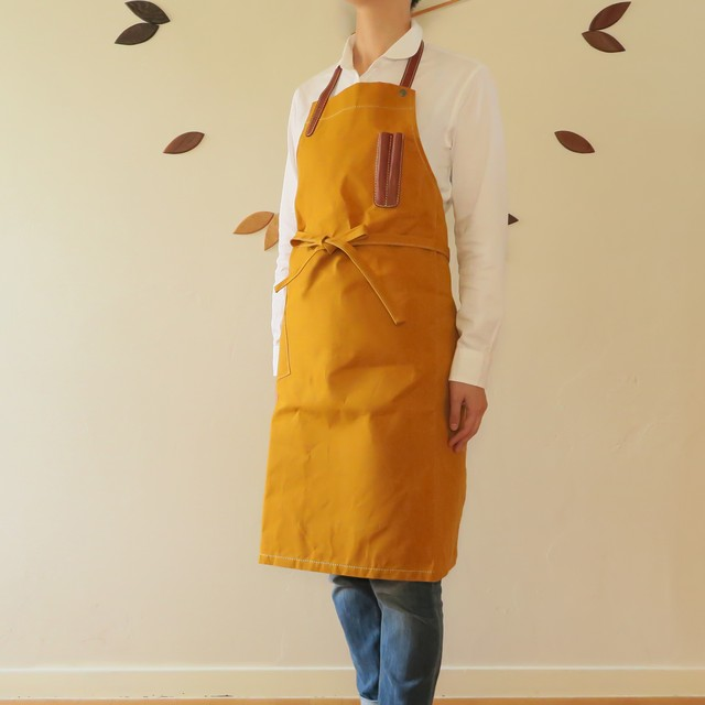 Paraffin canvas apron  MUSTARD
