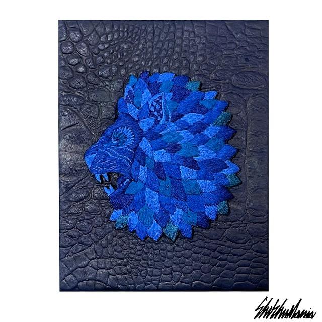 Yuta Okudaコラボ青ライオン刺繍パネル