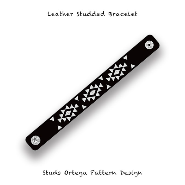 20mm Width Leather Studded Bracelet / Triangle Studs Ortega Pattern Design