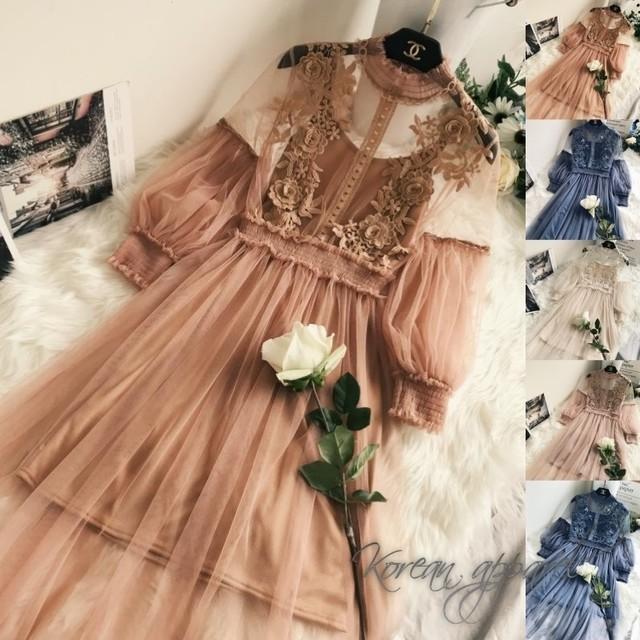 上品レースドレス 結婚式 パーティー 可憐 全5色