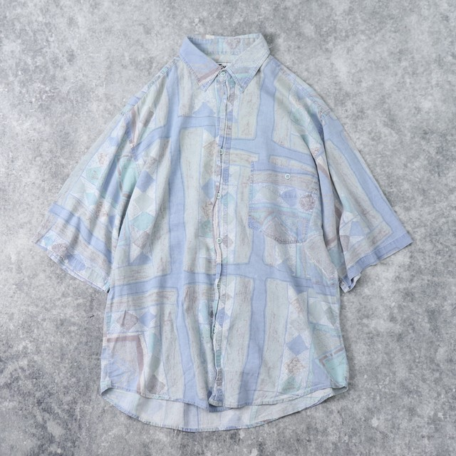 90年代 半袖 コットン 総柄シャツ メンズL 古着 A168
