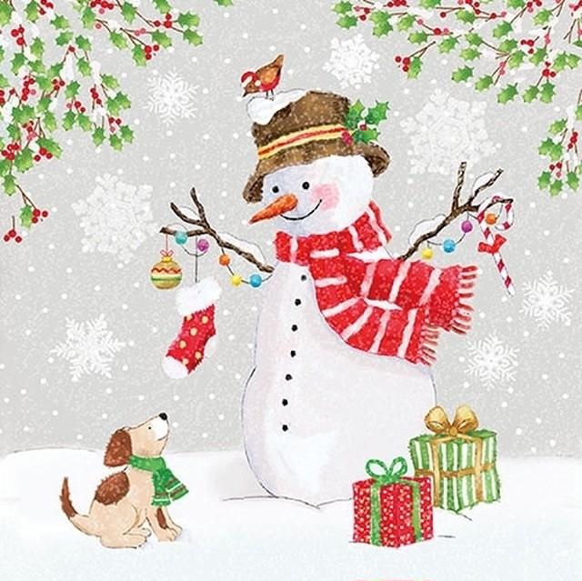 【Ambiente】バラ売り2枚 ランチサイズ ペーパーナプキン Snowman Meet Friends グレー